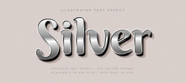 シルバーの光沢のあるテキストスタイルのフォント効果