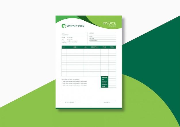 Элегантный современный зеленый шаблон счета