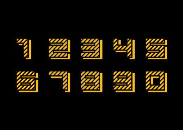 Набор украшенных геометрических желтых чисел