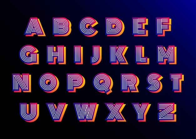 レトロな未来的なディスコアルファベットセット