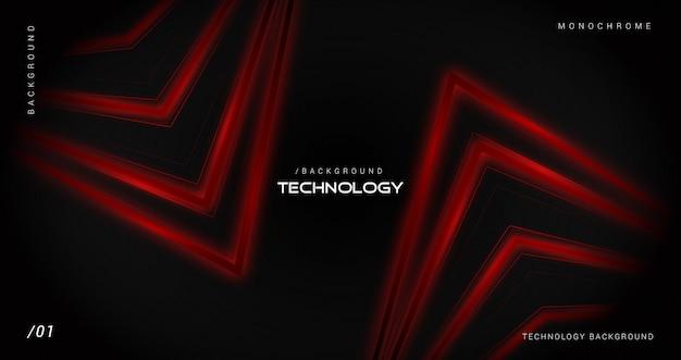 Темный фон технологии с блестящими красными линиями
