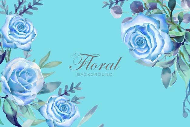 Цветочная акварель фон синий тема