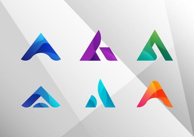 Современный абстрактный градиент логотип набор