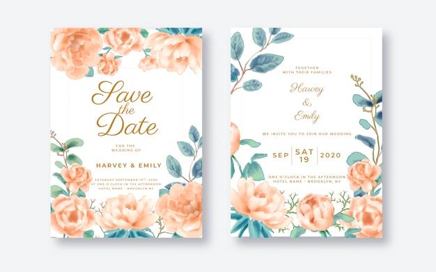 美しい花の結婚式の招待カードテンプレート