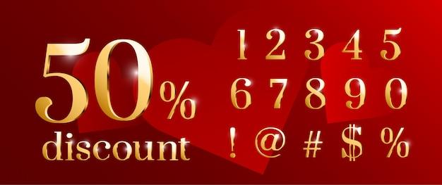 Набор номера шрифта золотой блестящий день святого валентина