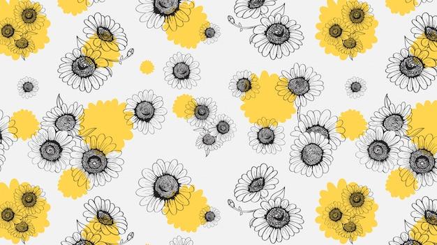 ヒナギクのシームレスな手描きのパターン