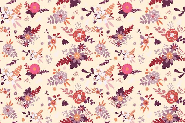 平らな美しい花のシームレスなパターン背景