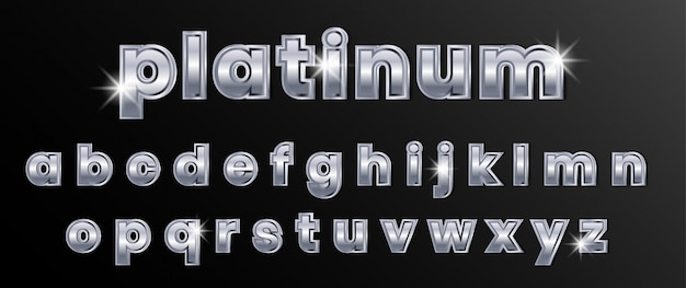 Платиновый хромовый серебряный текстовый алфавит