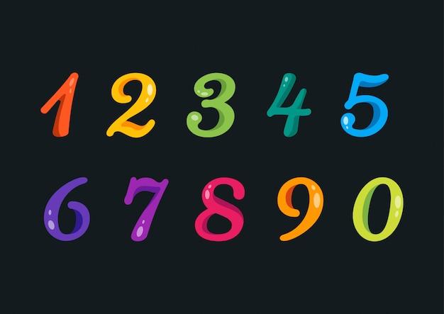 遊び心のあるカラフルな丸みを帯びた番号