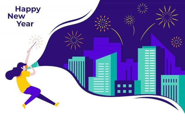 新年あけましておめでとうございますフラットイラストバナーテンプレート