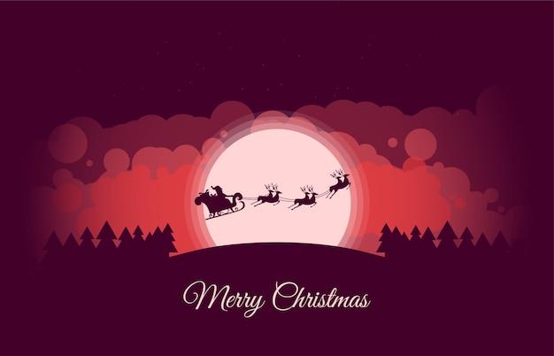 Санта-клаус и олени рождественская открытка