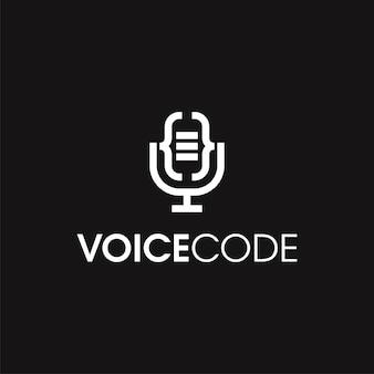抽象的な音声コードのロゴのテンプレート