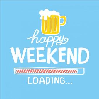 幸せな週末のビールの漫画のイラストのベクトルイラスト
