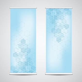 Сверните баннер стоит с абстрактного геометрического фона из шестиугольников.