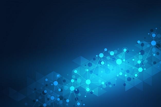 分子構造とニューラルネットワークの抽象的な幾何学的なテクスチャー。