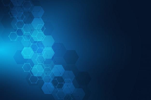 Геометрическая фоновой текстуры с молекулярными структурами и химического машиностроения.