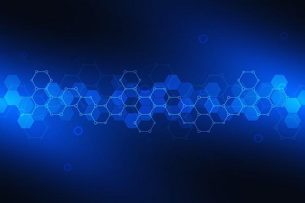 六角形のパターンを持つ科学の背景