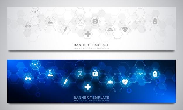 バナーは、六角形パターンと医療アイコンを持つテンプレートをデザインします。ヘルスケア、科学技術。