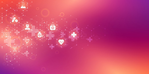アイコンと記号の医療医療と科学の背景。イノベーションテクノロジー。