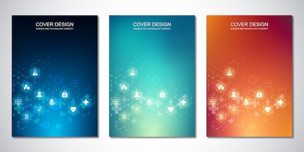 Шаблоны для обложки или брошюры, с рисунком шестиугольников и медицинских иконок. здравоохранение, наука и техника.