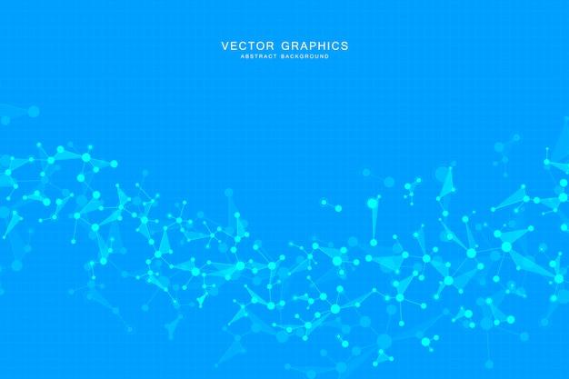 Молекулярный фон, генетические и химические соединения. абстрактные линии с точками, медицинской, технологической и научной концепции.