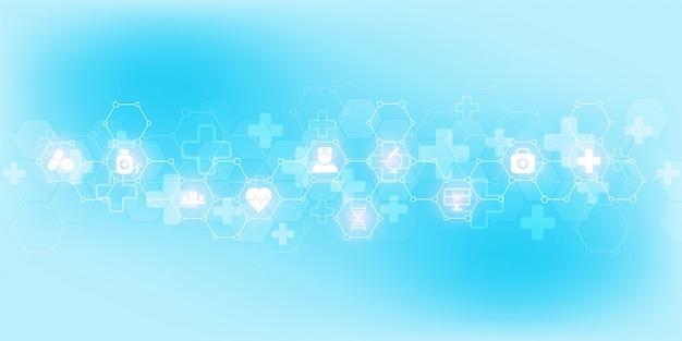 フラットアイコンと記号で抽象的な医療の背景。医療技術、革新医学、健康、科学、研究のための概念とアイデア。