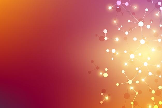Молекулярная структура фона. абстрактный фон с молекулой днк. медицина, наука и цифровые технологии со связанными линиями и точками.