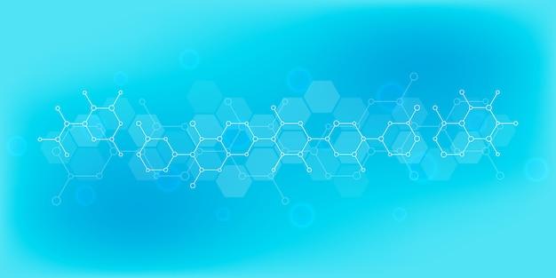 Абстрактный фон науки и инновационных технологий. техническое образование с молекулярными структурами и химической инженерией.