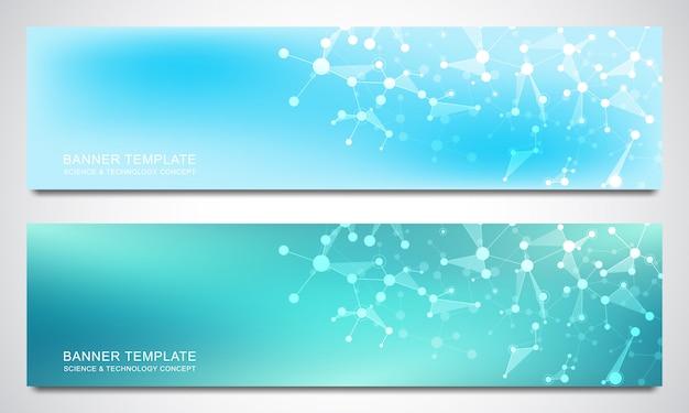 バナーは、分子構造とニューラルネットワークのデザインテンプレートです。抽象的な分子と遺伝子工学の背景。科学と技術革新の概念。