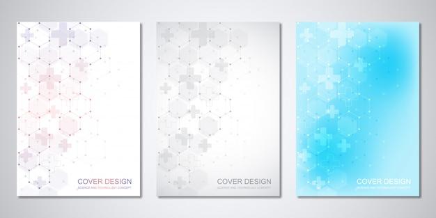 Медицинские шаблоны для обложки с абстрактным рисунком шестиугольников. концепции и идеи для медицины, здравоохранения, инновационной медицины, науки.