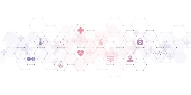 Медицинское образование с плоскими значками и символами