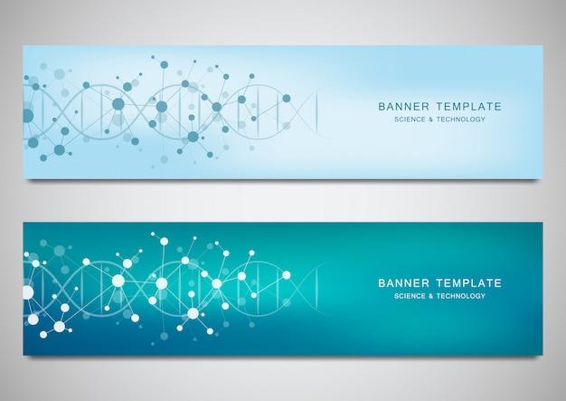 Векторные баннеры и заголовки для сайта с цепочкой днк и молекулярной структурой
