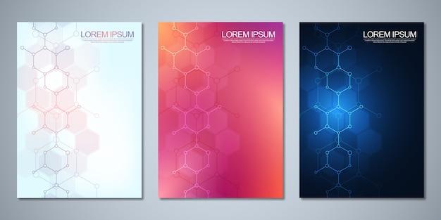Шаблоны для обложки или брошюры с абстрактным молекулярным фоном. концепции и идеи для медицины, здравоохранения, инновационной медицины, науки.