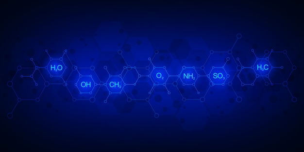 化学式と分子構造の暗い青色の背景に抽象的な化学パターン。科学と革新の技術コンセプト。