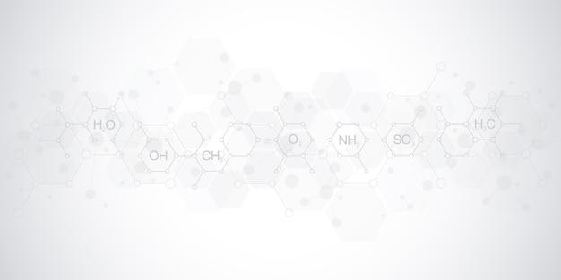 化学式と分子構造を持つ柔らかい灰色の背景に抽象的な化学パターン。科学と革新技術のコンセプトとアイデアを備えたテンプレートデザイン。