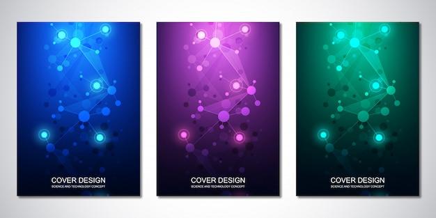 Вектор шаблон для обложки или брошюры, с фоном молекул и нейронной сети