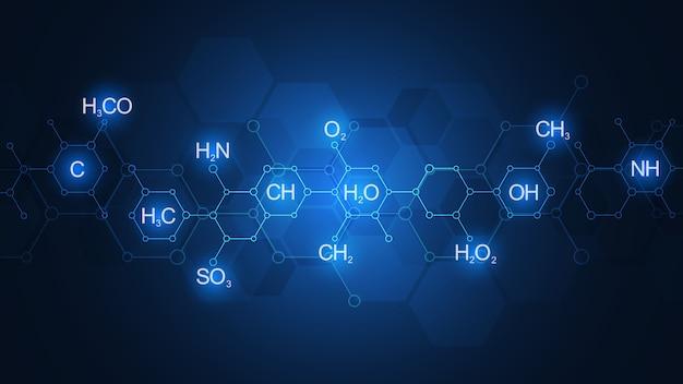 化学式と分子構造の暗い青色の背景に抽象的な化学パターン。科学と革新技術のコンセプトとアイデアを備えたテンプレートデザイン。