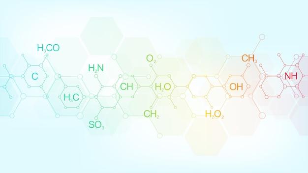 化学式と分子構造を持つ柔らかい青色の背景に抽象的な化学パターン。科学と革新技術のコンセプトとアイデアを備えたテンプレートデザイン。