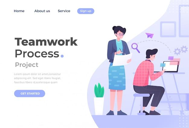 ウェブサイトとモバイルウェブサイトのチームワークのユニークなモダンなフラットデザインコンセプト