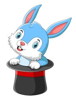 魔法の帽子でかわいい漫画のウサギ