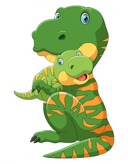 かわいい赤ちゃん恐竜を運ぶ母恐竜