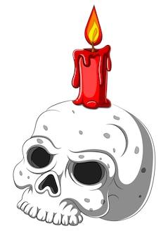 Симпатичный череп подсвечник на белом фоне