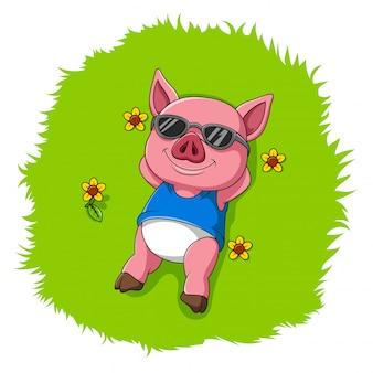 かわいい豚は草の上