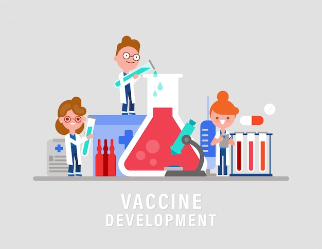 Лабораторные исследования разработки вакцины или препарата. иллюстрация концепции вакцинации. команда ученых-исследователей мультипликационный персонаж.