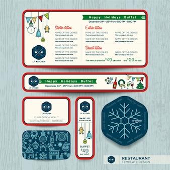 Рождественская вечеринка меню ресторана установить шаблон дизайна