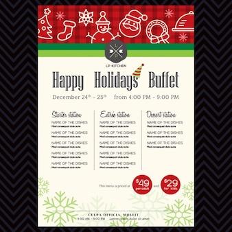 Рождественская вечеринка праздничный ресторан шаблон дизайна меню