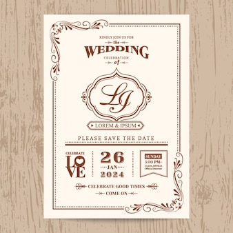 結婚式の招待状、ヴィンテージスタイル