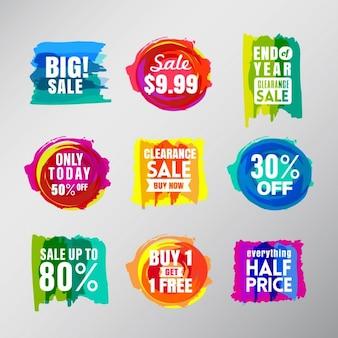 Набор красочных этикеток продажи воздушный шар речи пузыри элементы дизайна