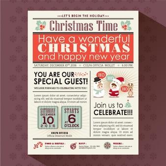 Газета рождественская вечеринка плакат