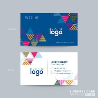 Синий треугольник современный дизайн визитной карточки